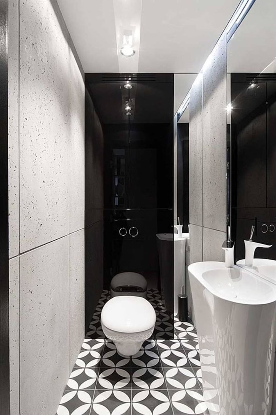 Apartment interior design in black and white colors - Black and white palette looks here very amazing