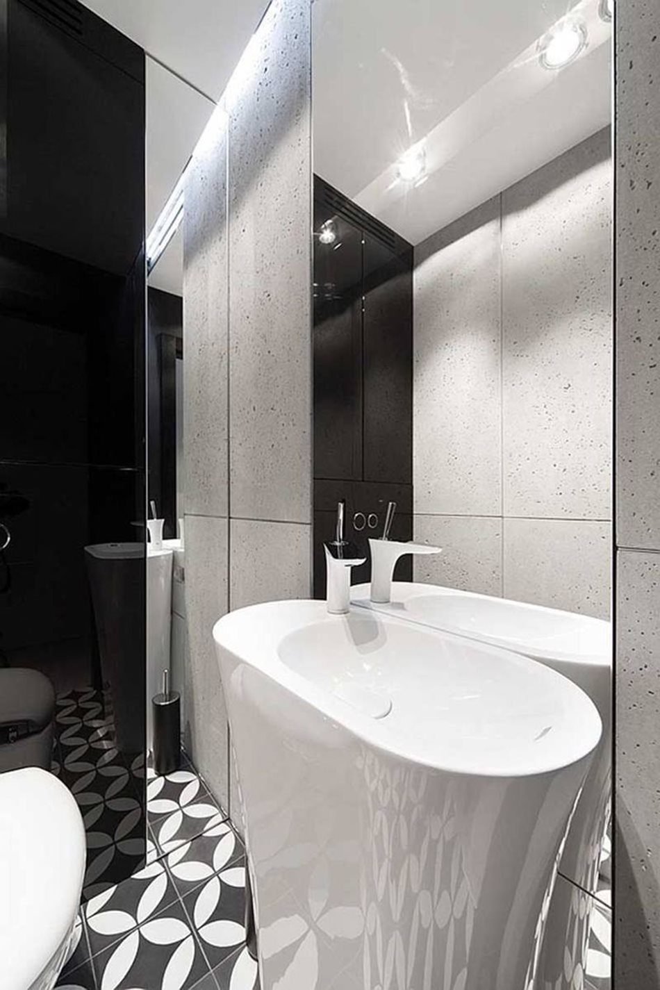 Apartment interior design in black and white colors - In a small bathroom, the space is enlarged with the help of mirrors and reflecting