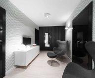 Apartment interior design in black and white colors