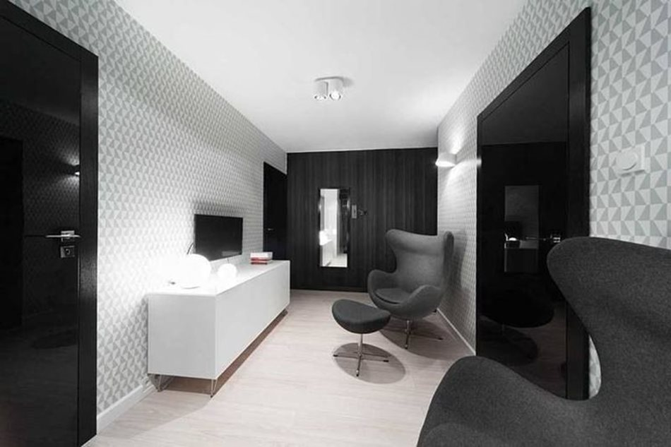 Apartment interior design in black and white colors - In a small cabinet, the designers refused using glaring whiteness and added black colors with light grey