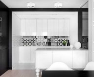 Apartment interior design in black and white colors