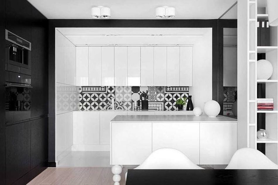 Apartment interior design in black and white colors - The apron is made in black-and-white ornament