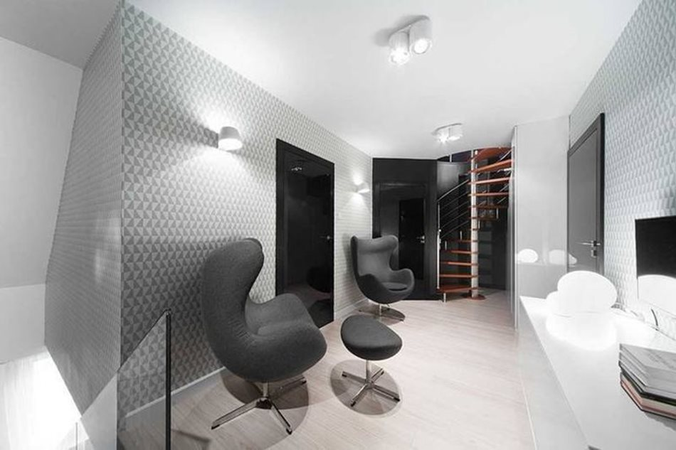 Apartment interior design in black and white colors - Well thought-out lighting increases visually this small space