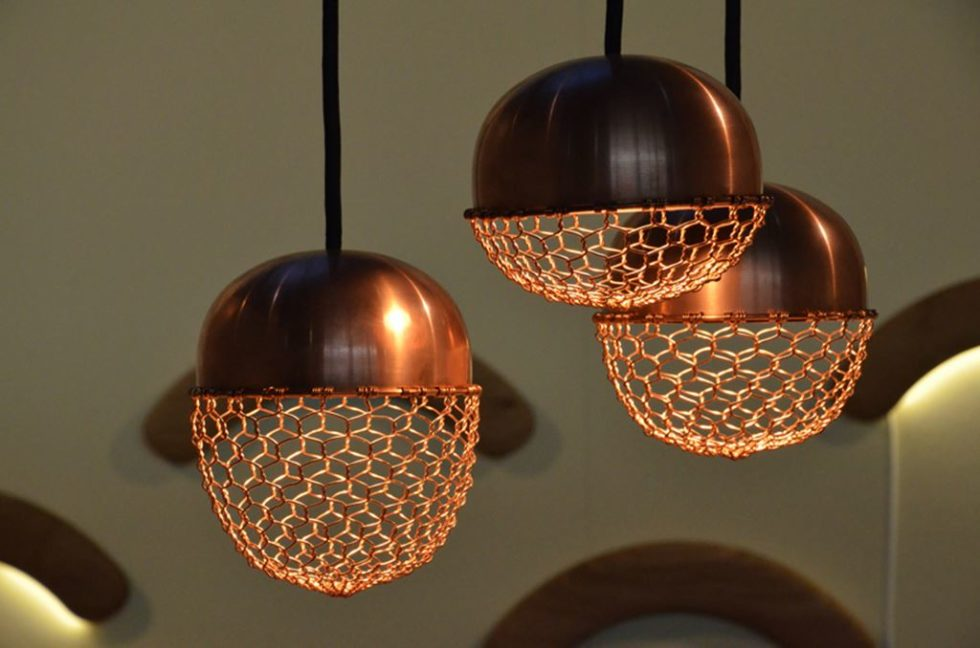 Copper lamps in the acorn form 1