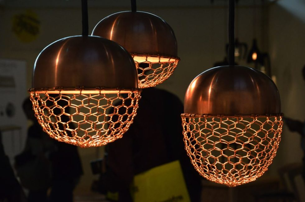 Copper lamps in the acorn form 2