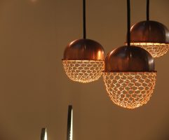 Copper lamps in the acorn form in Japanese