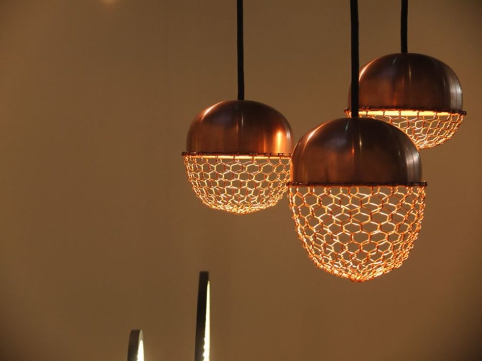 Copper lamps in the acorn form 3