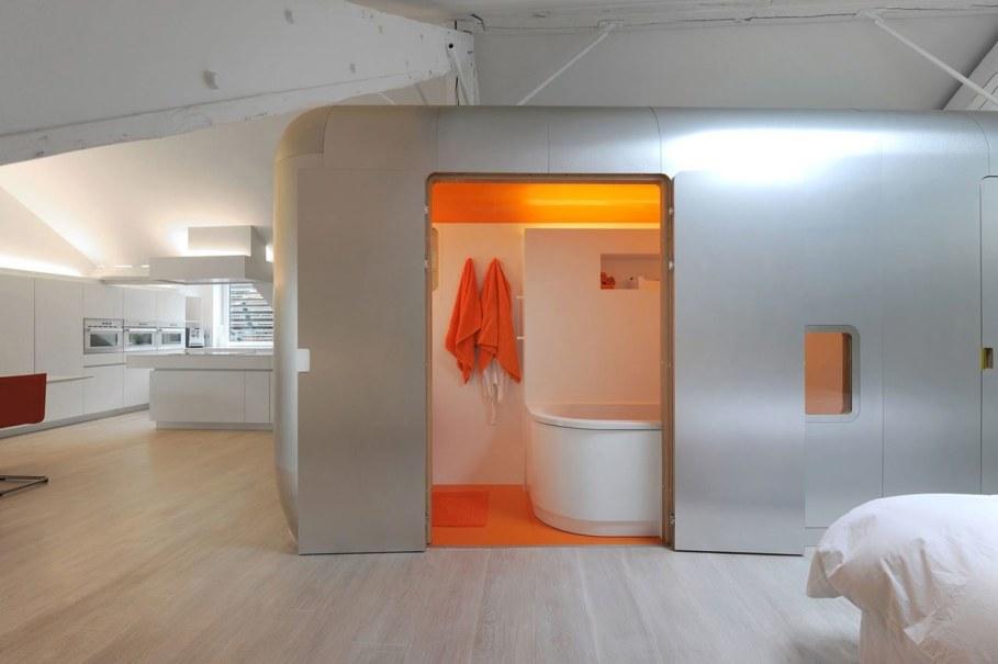 Creative Apartment Design from Dethier Architectures - Orange Bathroom