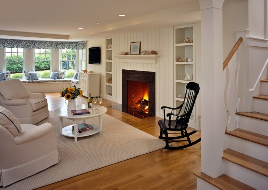 Exclusive Rocking-Chair in a living room with fireplace