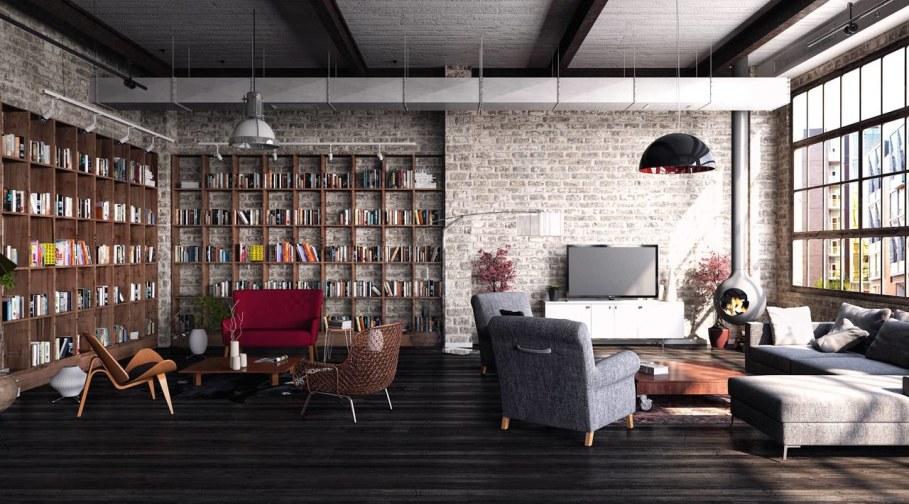 Industrial Loft Project - living room design ideas