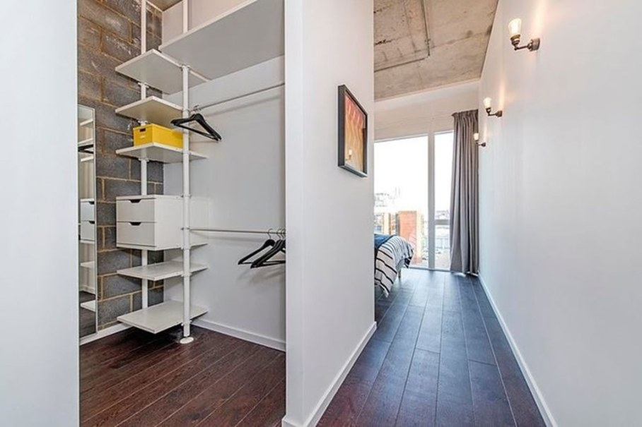 Industrial style London apartment - bedroom and wardrobe