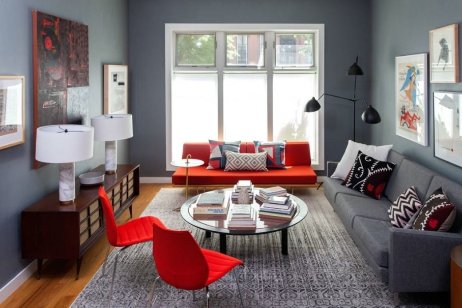 Grey Living Room With Bright Colors living room and bedroom design in retro style of a two-room apartment