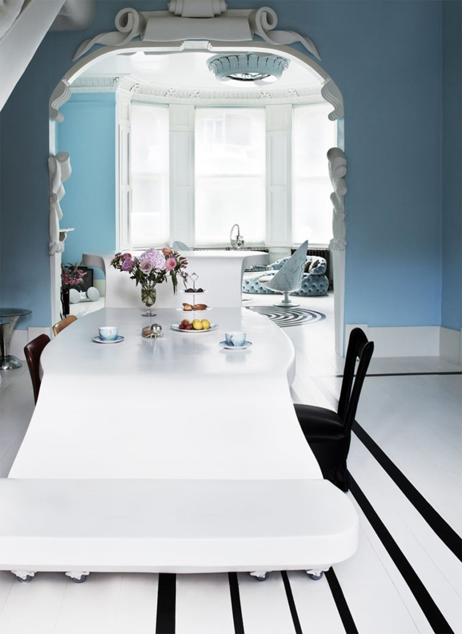 Mediterranean Interior of London Apartment - Dining room