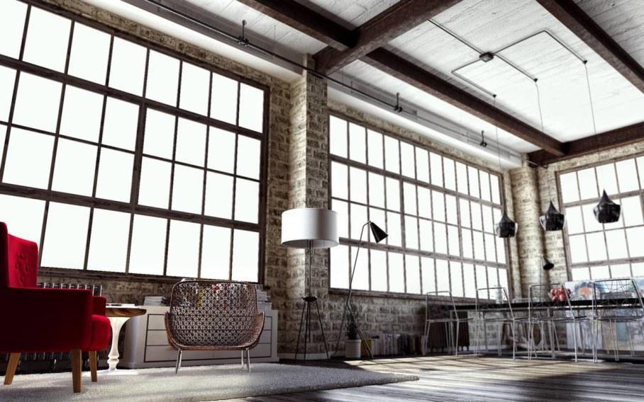 Modern interior in loft style - Huge windows