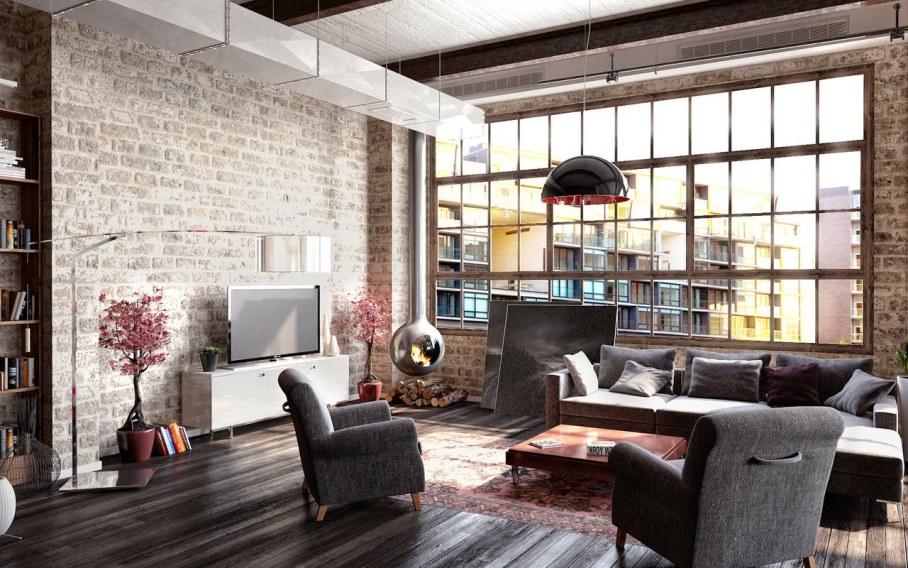 Modern interior in loft style - design ideas