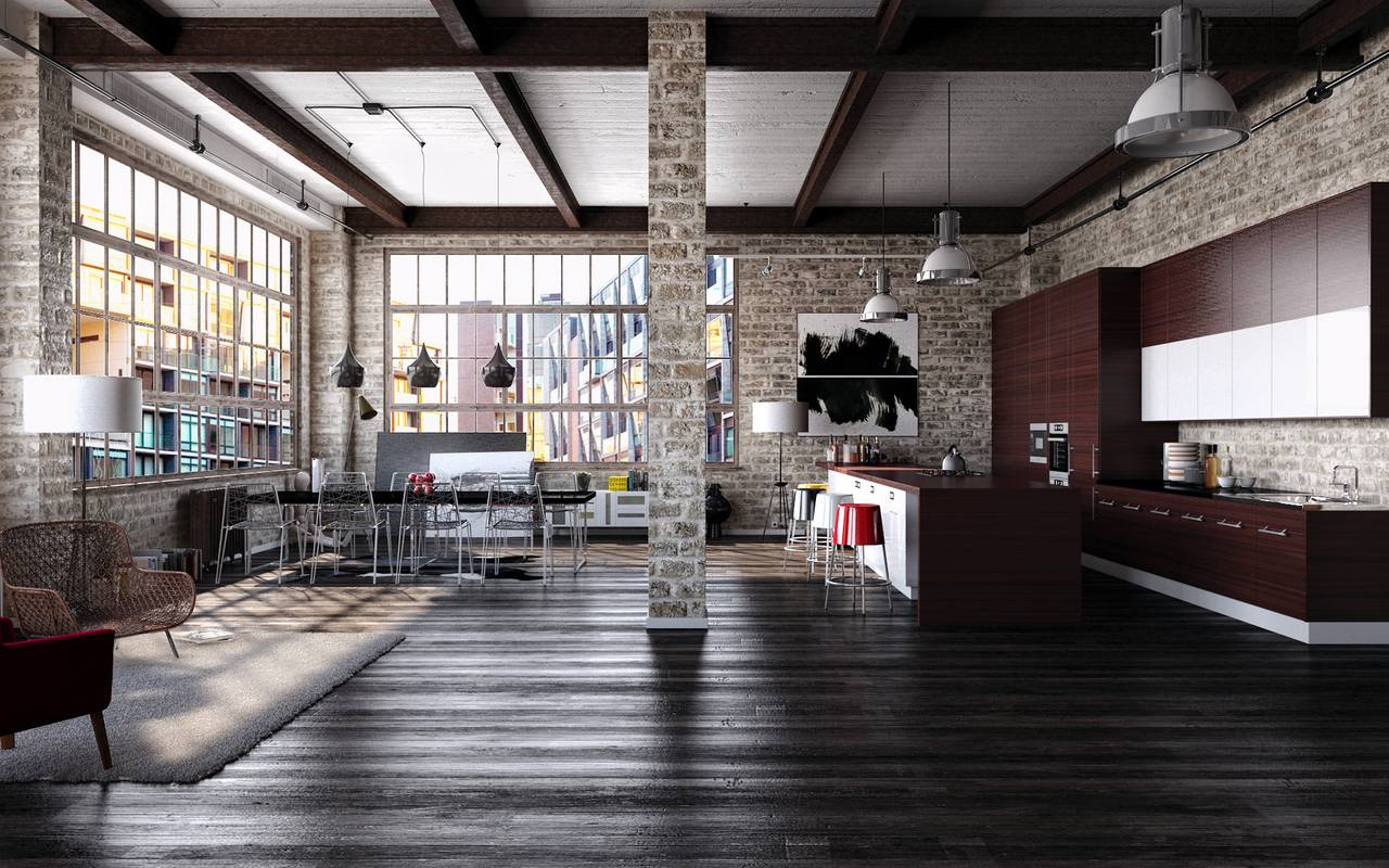 Modern interior in loft style kitchen and dining room