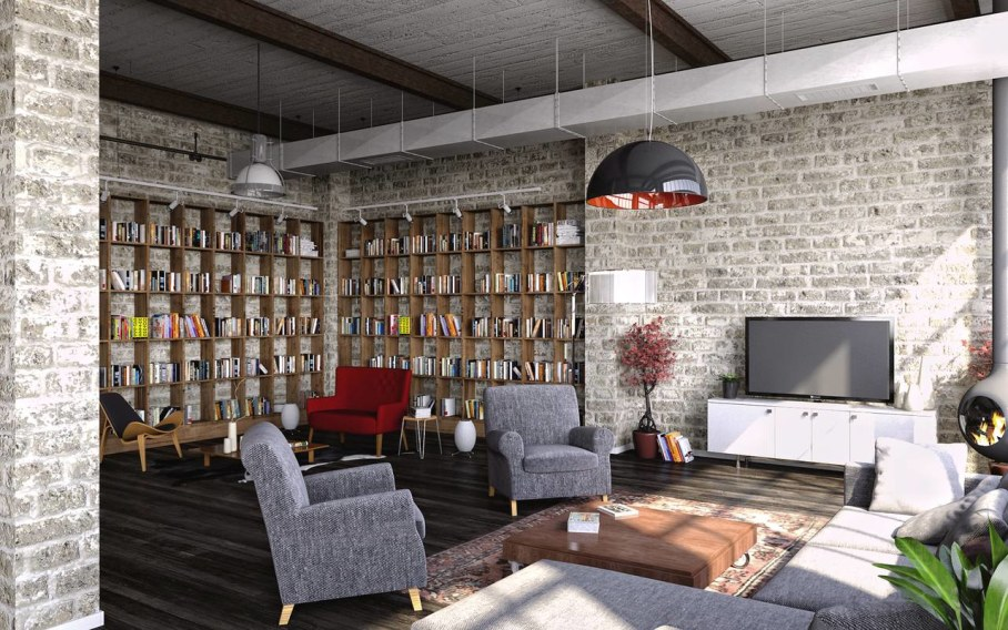 Modern interior in loft style - place to relax