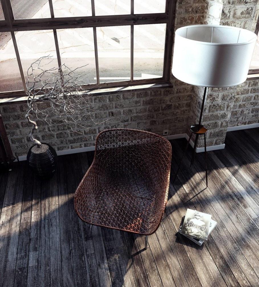 Modern interior in loft style - wicked chair