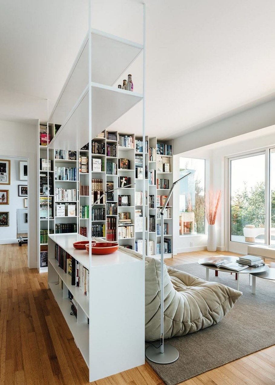 Sausalito residence - bookcase in the living room