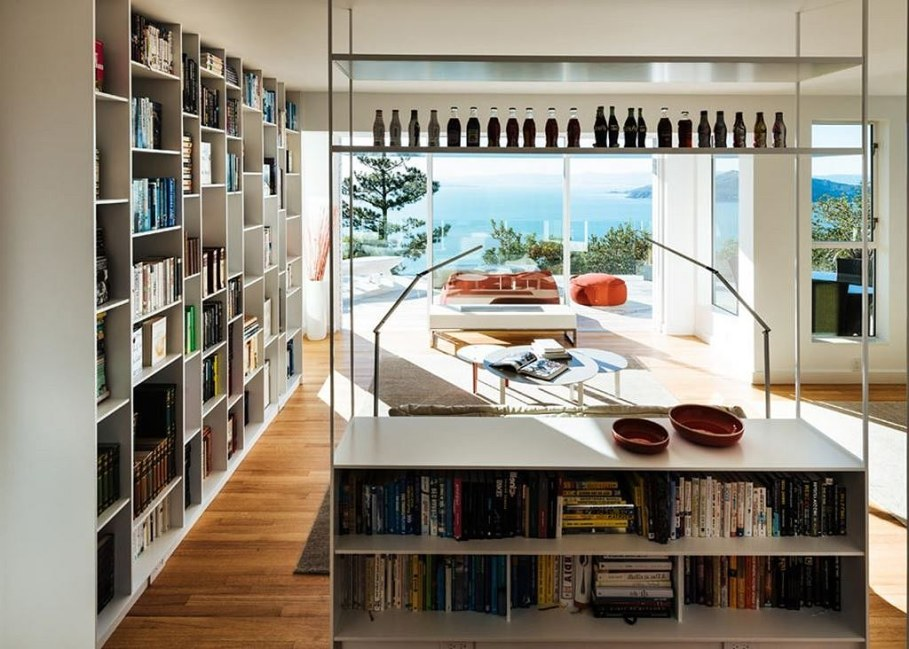 Sausalito residence - books brought from around the world