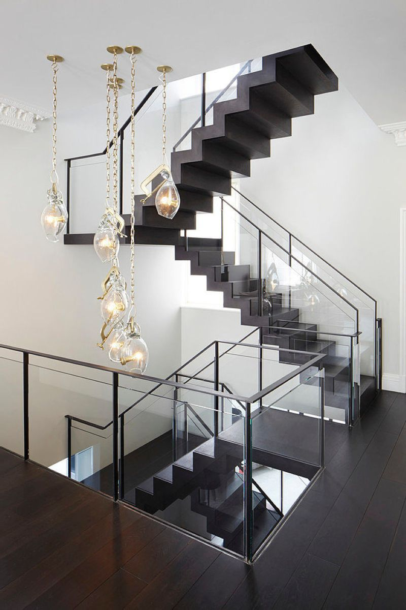 Stylish design of the three-storeyed residence in London - The stairs leading to the second floor are designed not only with functional purpose, but for decoration as well