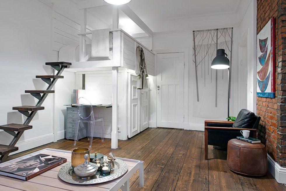The Delightful Design of the Studio Flat Scandinavian Style - Bedroom
