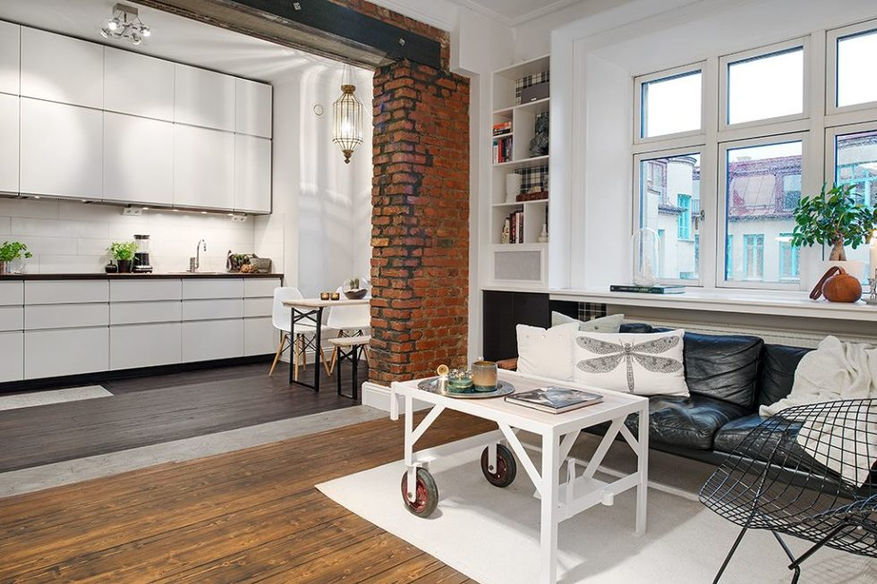 The Delightful Design of the Studio Flat Scandinavian Style - Dining place and Kitchen