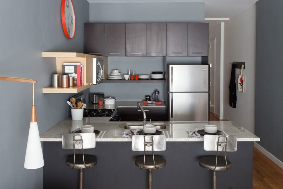The kitchen takes a small area where the authors of the project were managed to arrange all necessary things for cooking