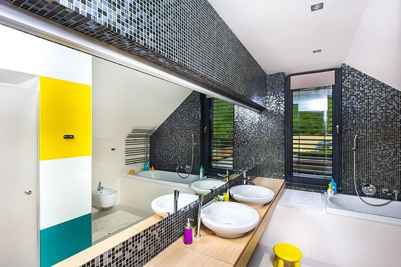 This modern three-story house - The separate bathroom for kids - low wash sinks