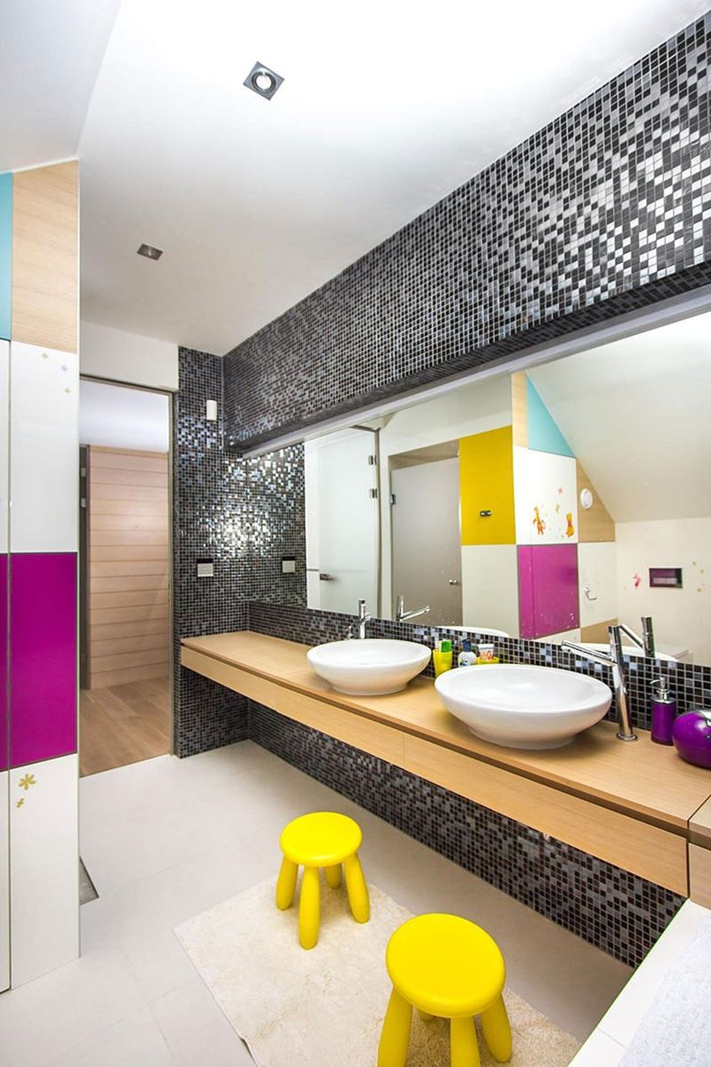 This modern three-story house - The separate bathroom for kids