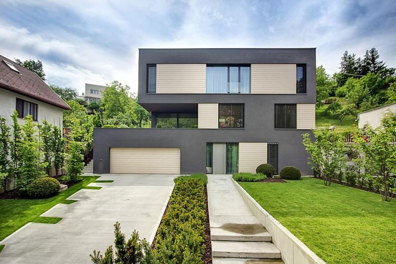 This modern three-story house is located in Slovakia