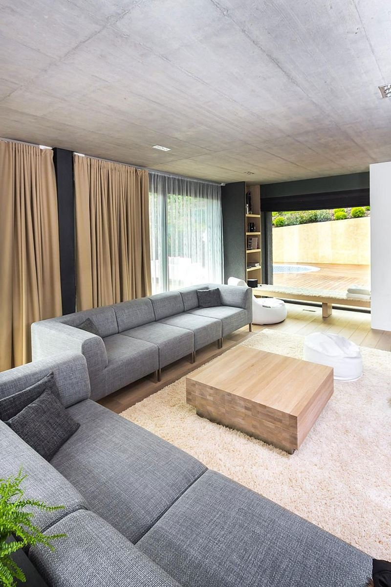 This modern three-story house - living room