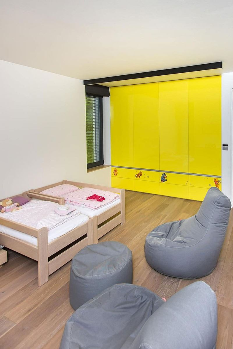 This modern three-story house - room for children