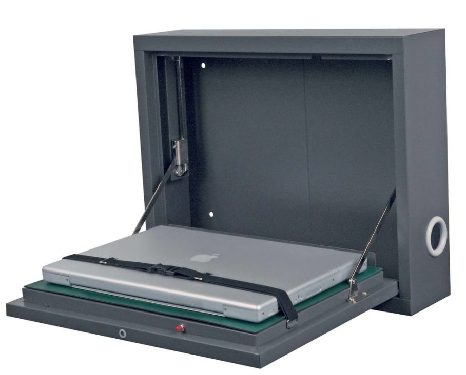 Wall mounted secure laptop cabinet