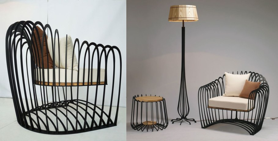 Wave Collection Carcass Furniture from Jihye Choi - armchair, a small table and a lamp