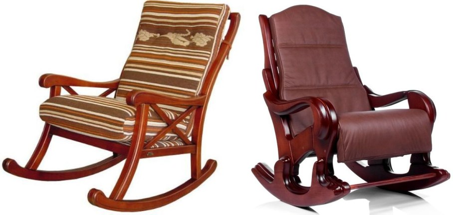 Wooden Classic Style Rocking Chair With Soft Upholstery