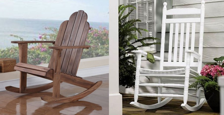 Wooden rocking-chair for outdoor use