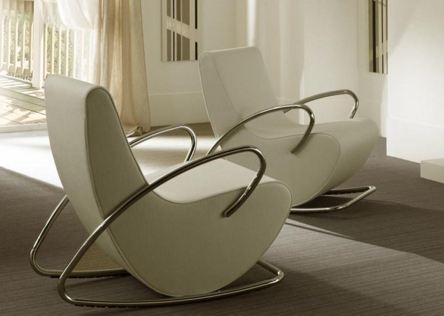 Elegant modern white rocking-chairs