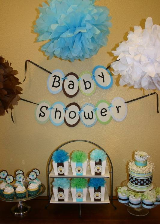 Ideas for baby boy shower decorations for Baby shower decoration ideas images