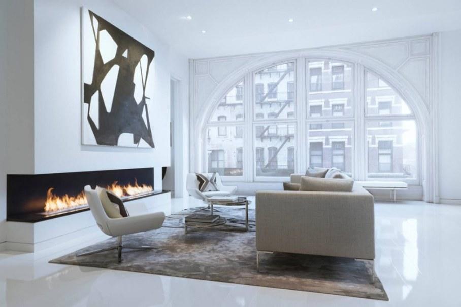 Bleecker Street Loft - Living room with Fireplace