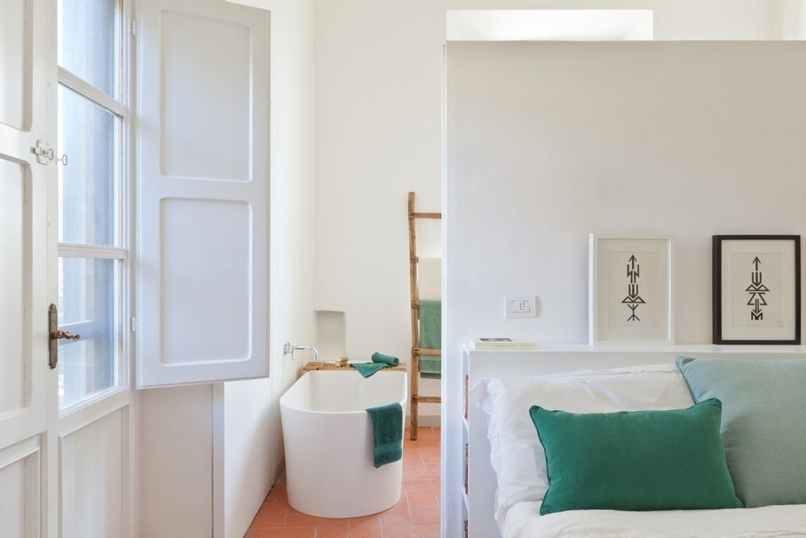 Renovation Of The Former Monastery Building in Tuscany - bedroom and bathroom