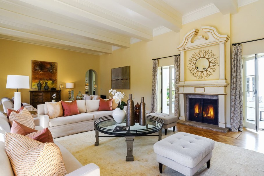 Santa Barbara 'Scarface' Mansion - Living room with Fireplace