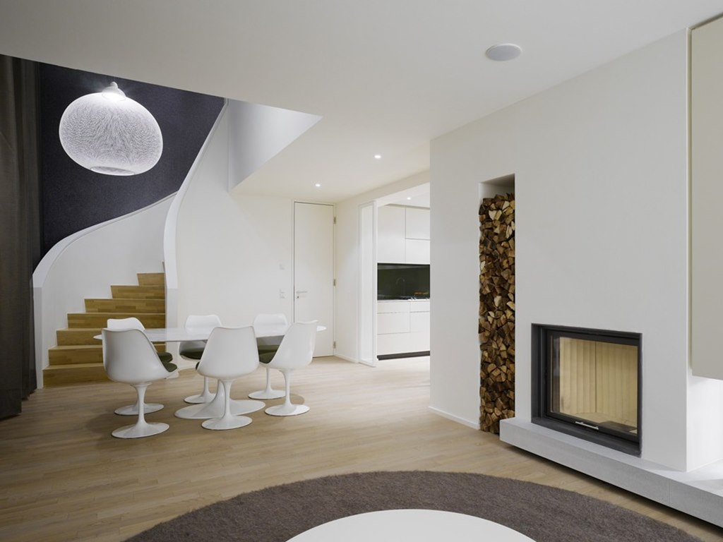 Elegant interior design a duplex apartment with a fireplace in the quant complex - Living room design for apartment ...