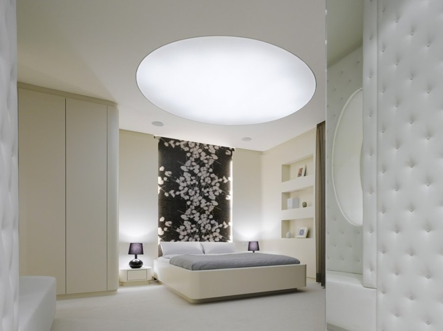 Elegant interior design - bedroom - decorated with velour and soft leather