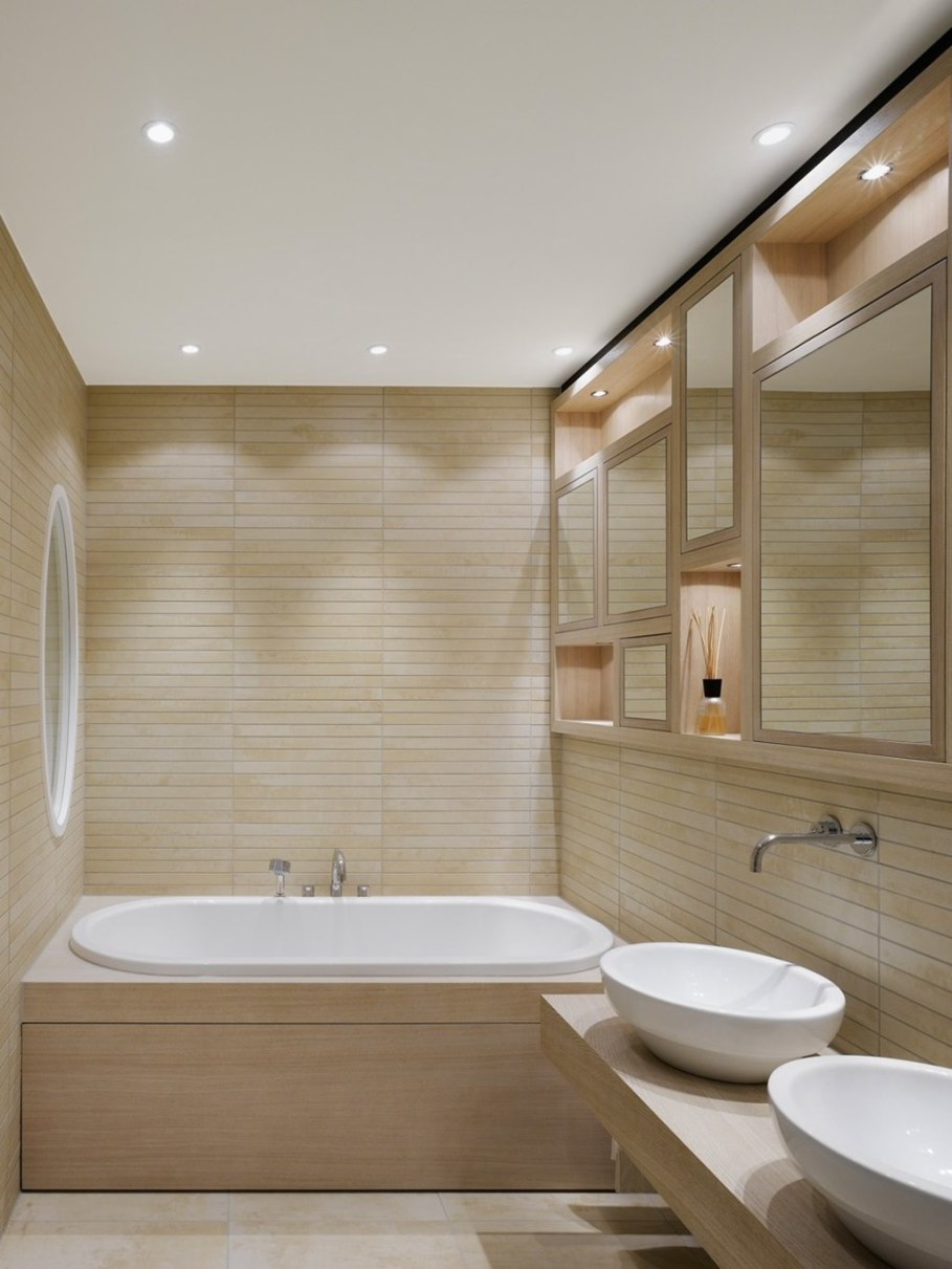 Elegant interior design - elegant bathroom with original surface finish