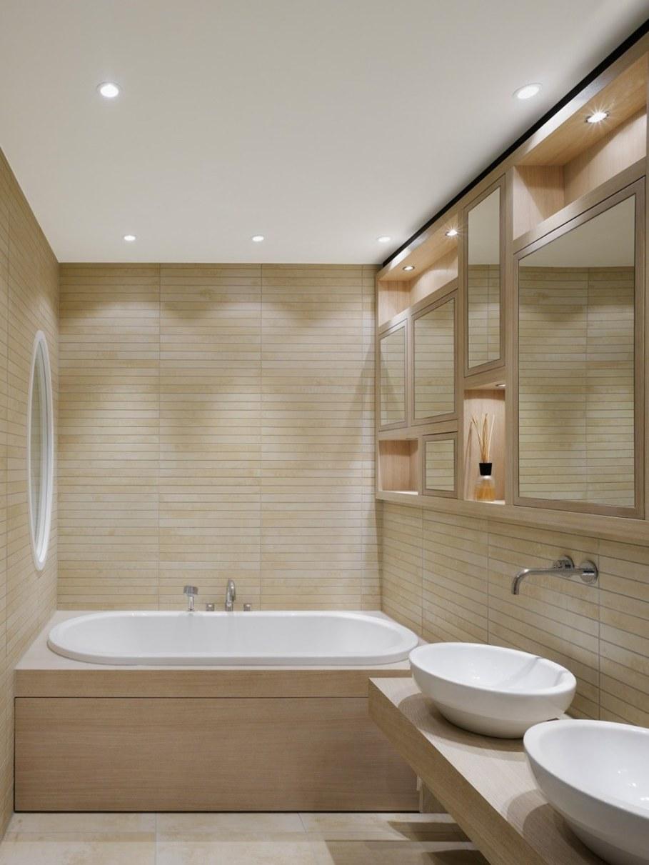 Elegant interior design - elegant bathroom with original surface finish