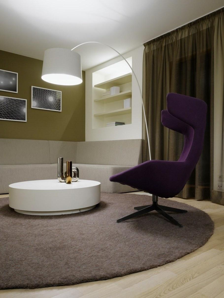 Elegant interior design - living room with a modern floor lamp