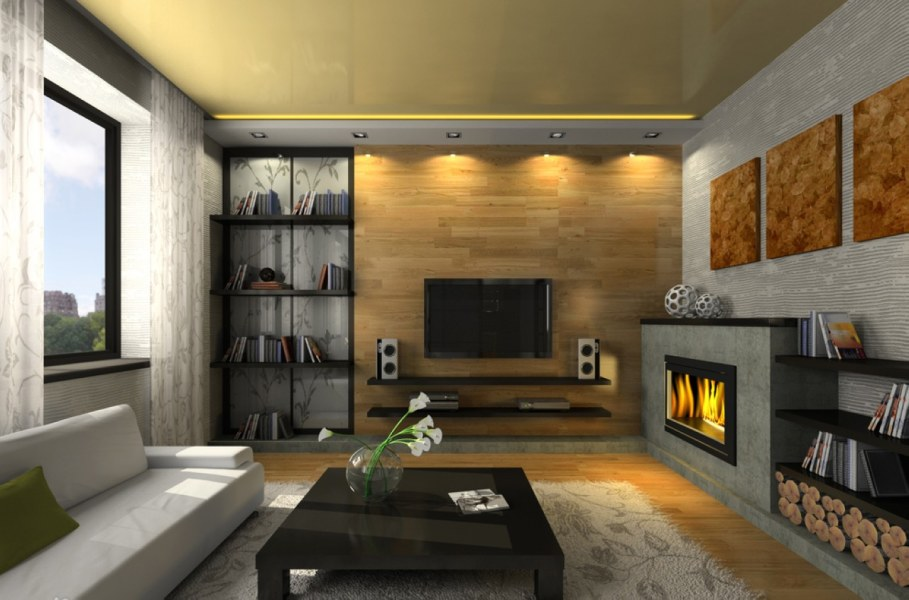 Interior design idea - the most natural decor for zone at the fireplace they were and remain logs