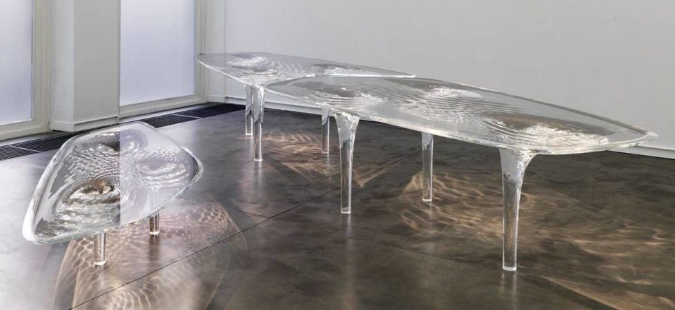 Zaha Hadid demonstrated amazing features of acryl at «Liquid Glacial Table» collection