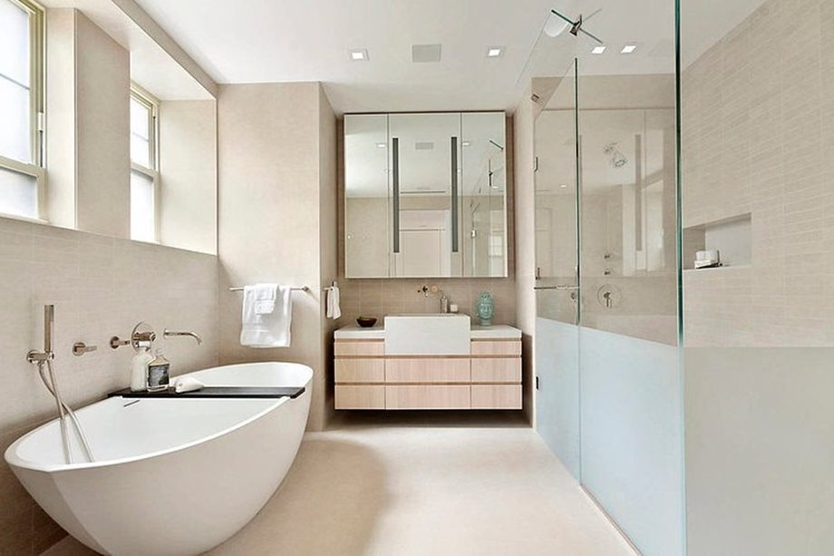 Modern interior design of a duplex apartment in new york Interior design for apartment bathroom